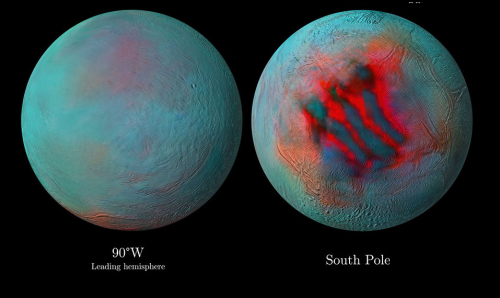 Two views of Enceladus