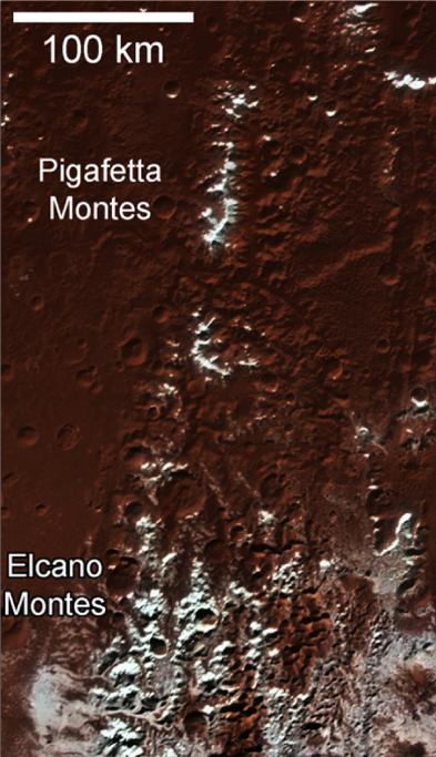Pluto's white-capped mountains