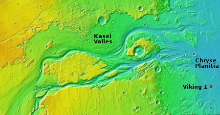 Overview map of lower section of Kasei Valles