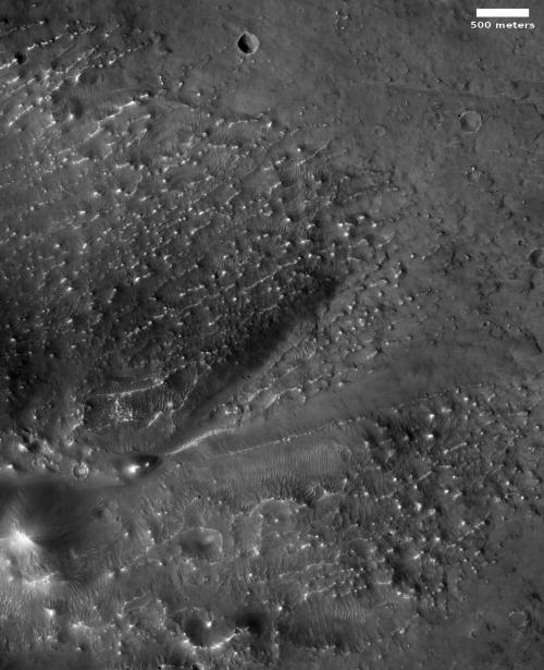 Fan-shaped deposit in Sharonov Crater