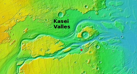Overview map of end of Kasei Valles