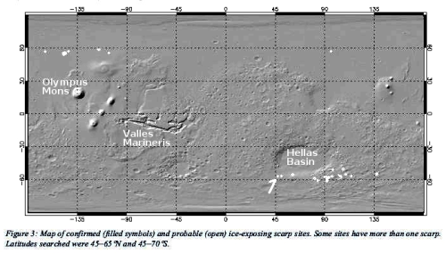 Global map of known ice scarps on Mars