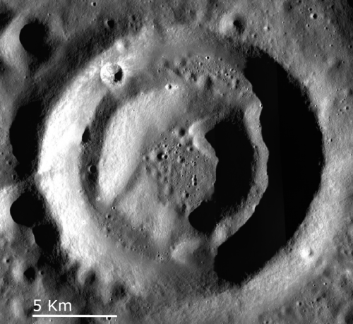 A donut crater on the Moon