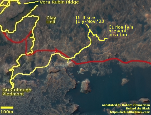 Curiosity's location and route up Mt. Sharp