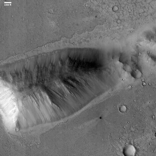 Isolated buried mountain on Mars