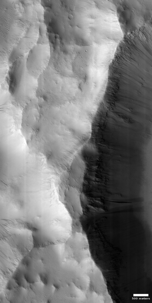 A mountain peak on Mars