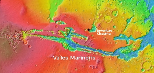 Wide overview showing general location on Mars