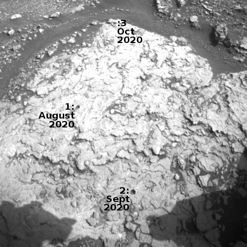 Drill holes at Mary Anning site in Gale Crater