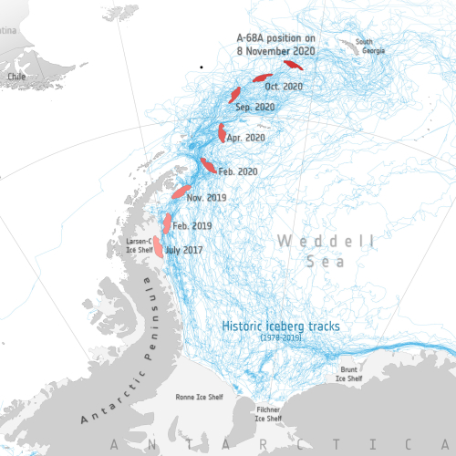 Track of iceberg in the past three years