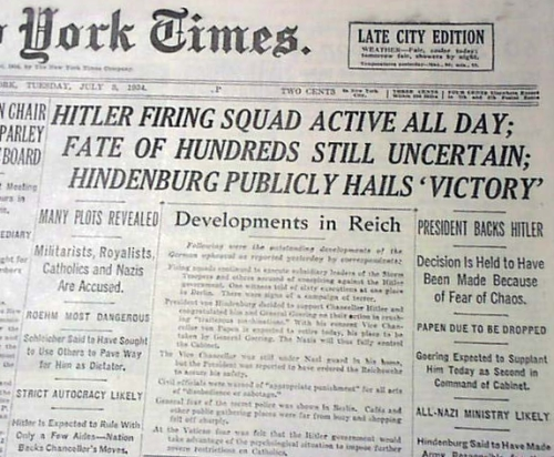 Hitler's purge in 1934, the night of long knives