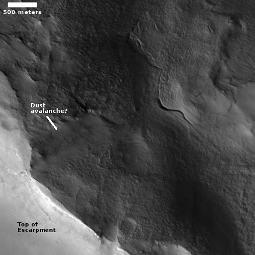 Sagging escarpment on Mars