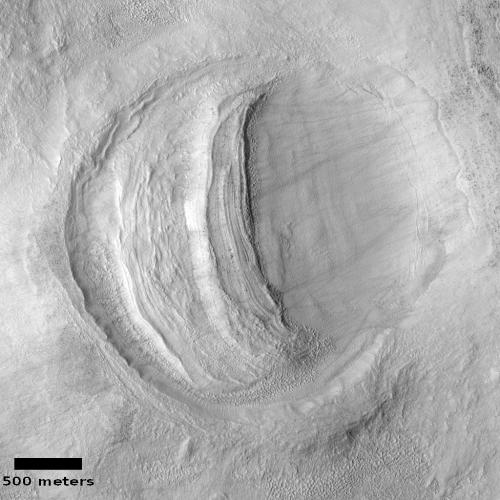 Strange crater in Hellas Basin