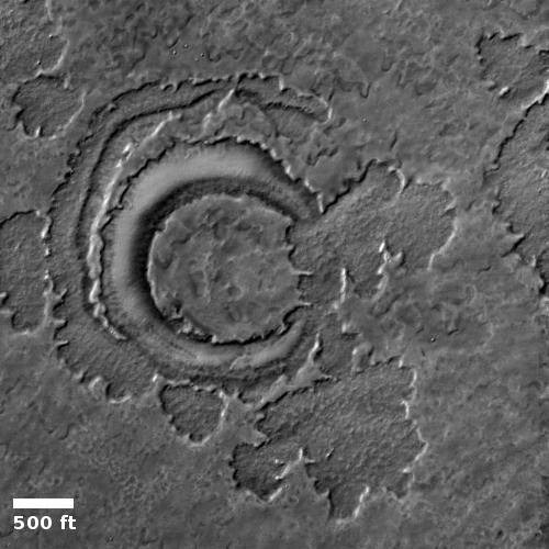 Cryptic terrain near Mars' south polar ice cap