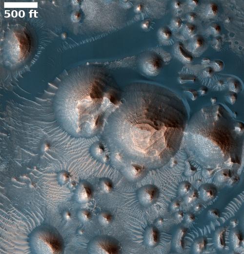 Terraced mesa in Martian crater