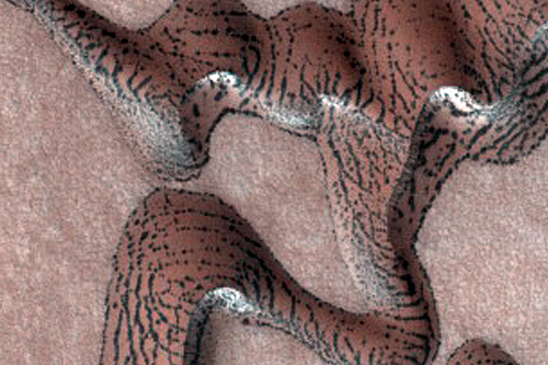Close-up of dunes with stripes