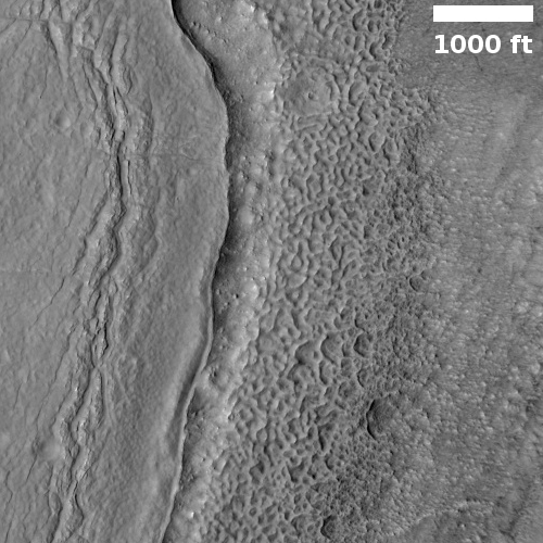 Close-up on crater floor
