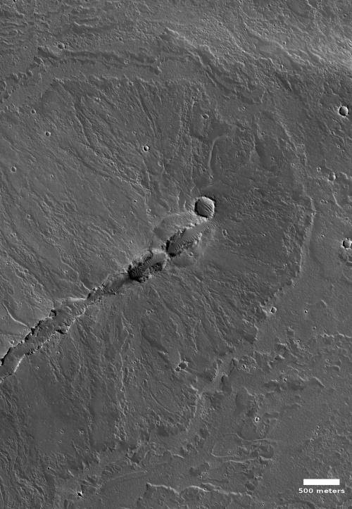 Volcanic vent on eastern flank of Olympus Mons