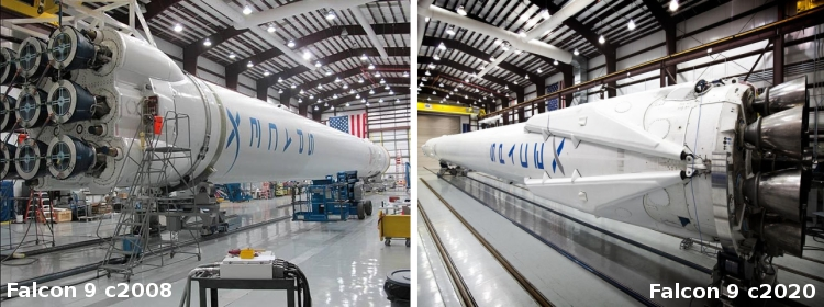 Comparing the early Falcon 9 to its modern version