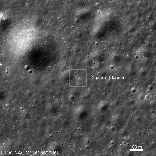 Chang'e-5 on the Moon, taken by LRO
