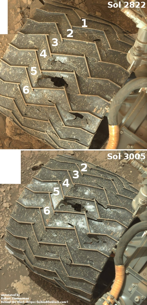 One wheel on Curiosity, as seen in July 2020 and January 2021