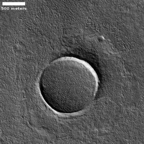 An engulfed crater on Mars