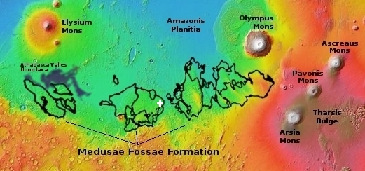 Medusae Fossae Formation in volcano country
