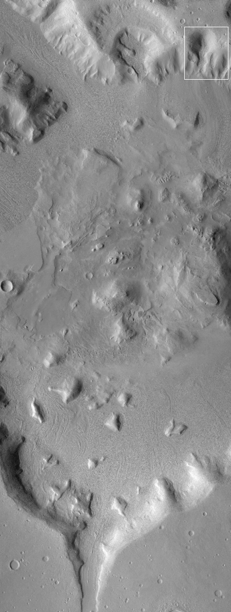 Wider context camera photo of crater and flow