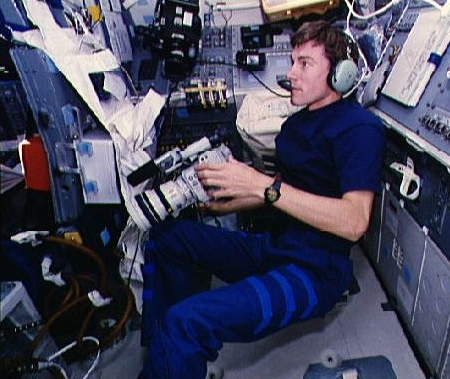Sergei Krikalev on the space shuttle