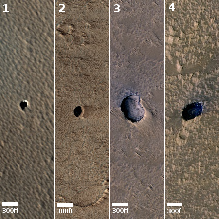 Four more pits in the Tharsis Bulge on Mars