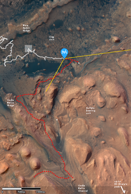 Overview map of Curiosity's most recent and future travels