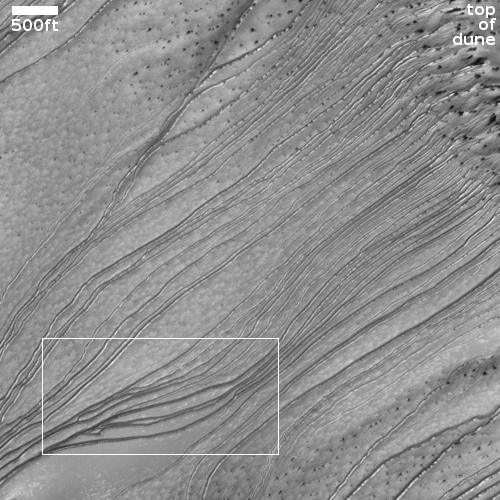 Grooves in dune created by sliding dry ice blocks