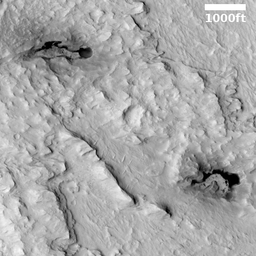 Martian pits or dark splotches?