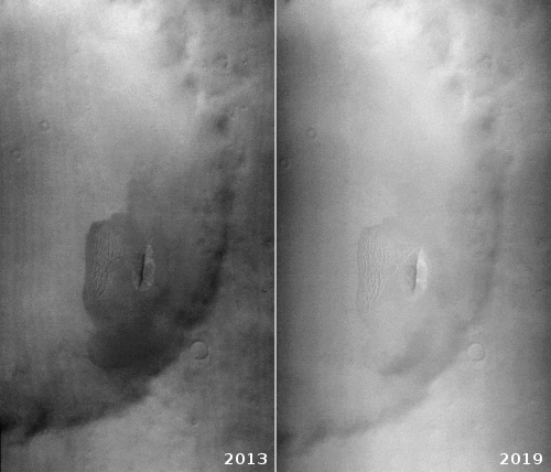 Context camera views of crater and dune from 2013 and 2019