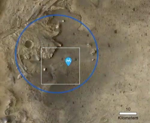 Perseverance's location in Jezero Crater