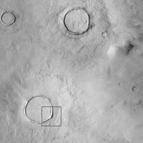Wider view showing entire crater as well as other nearby similar craters