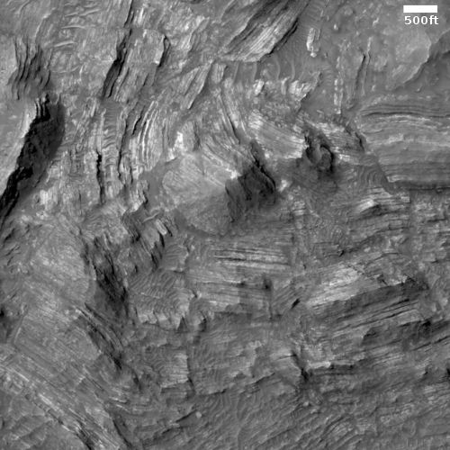 tilted strata in Martin Crater
