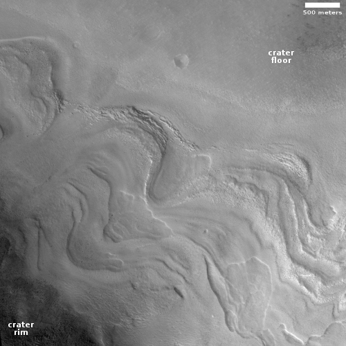 glacial flows in Renaudot Crater