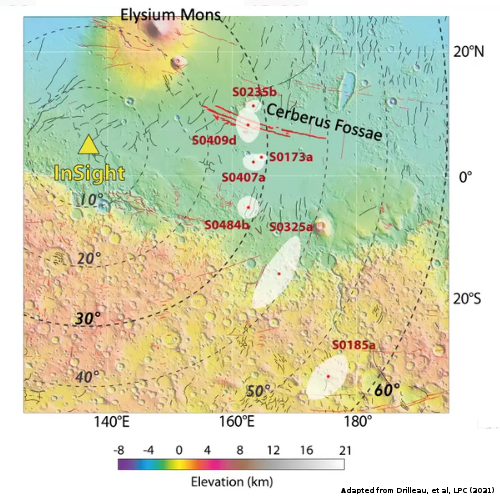 Martian quake map as seen by InSight