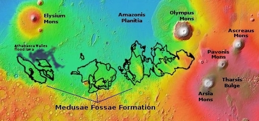 Overview map of Medusae Fossae Formation on Mars