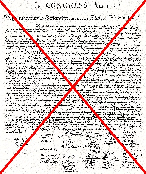 The Declaration of Independence, cancelled