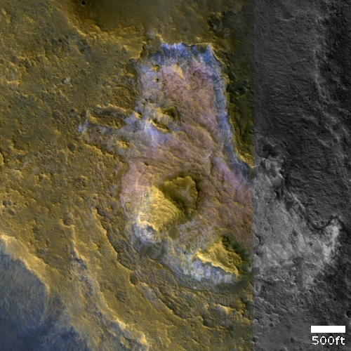Colorful mound in Martian northern lowland plains