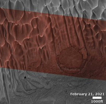 Buzzell dunes and pedestal crater near the Martian north polar ice cap