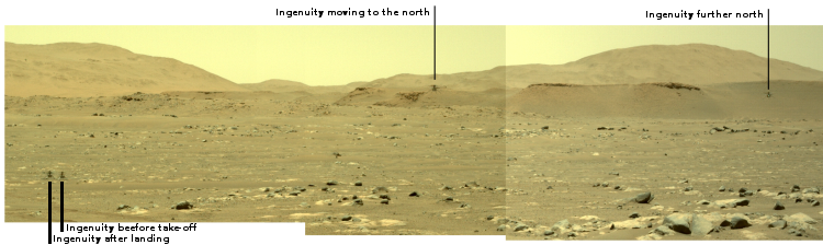 Low resolution montage showing Ingenuity's third flight on Mars, April 25, 2021