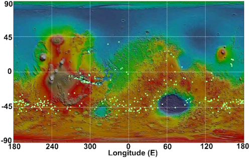 Map of Mars showing location of new linneae after 2018 global dust storm