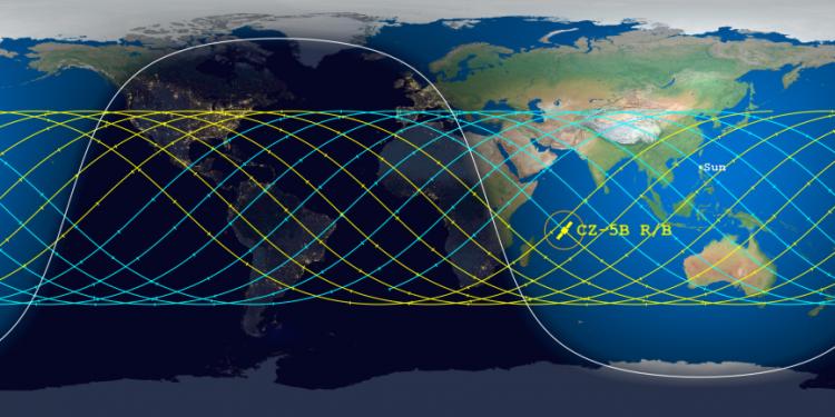 Long March 5B landing prediction, May 7, 2021