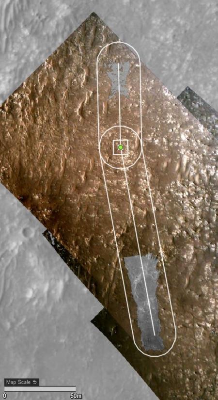 The flight path of Ingenuity's fourth flight