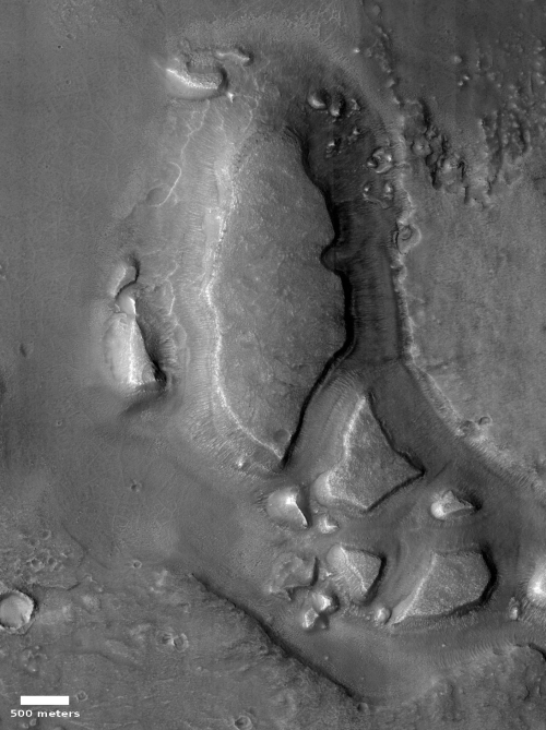 Close-up of carved canyons