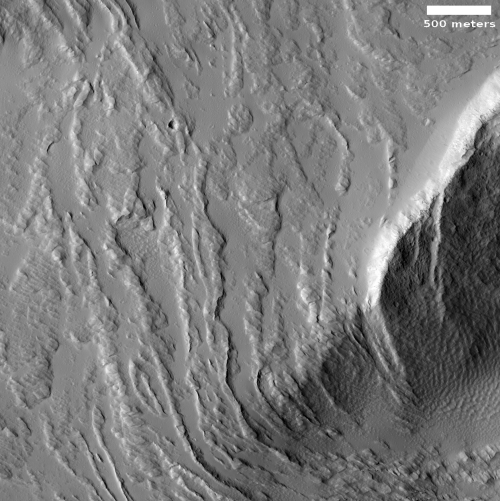 High resolution view  of lava flows