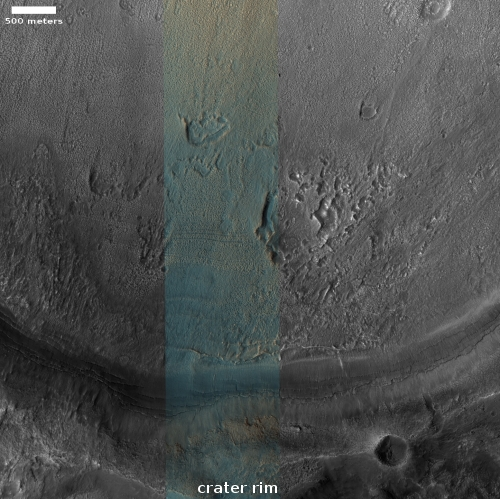 Glacial erosion features inside crater