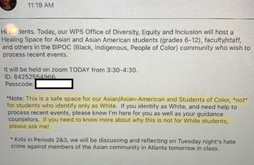 No whites allowed invitation at public school event